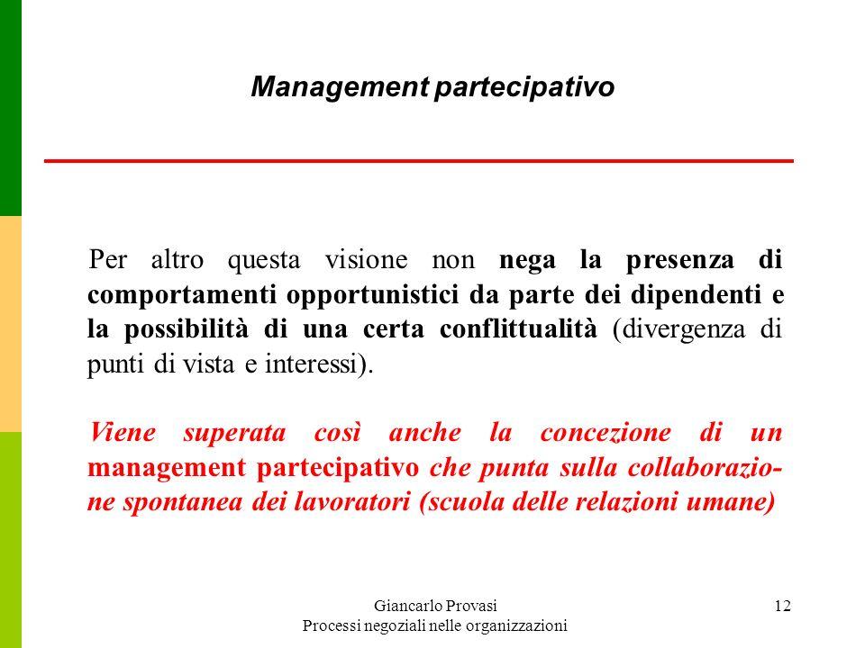 Giancarlo Provasi Processi negoziali nelle organizzazioni 12 Per altro questa visione non nega la presenza di comportamenti opportunistici da parte de