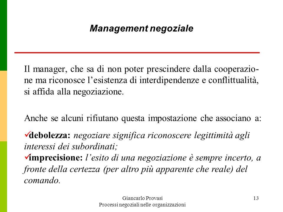 Giancarlo Provasi Processi negoziali nelle organizzazioni 13 Management negoziale Il manager, che sa di non poter prescindere dalla cooperazio- ne ma