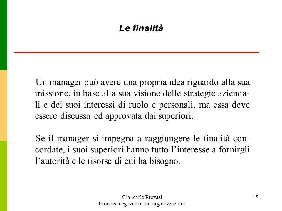 Giancarlo Provasi Processi negoziali nelle organizzazioni 15 Un manager può avere una propria idea riguardo alla sua missione, in base alla sua vision