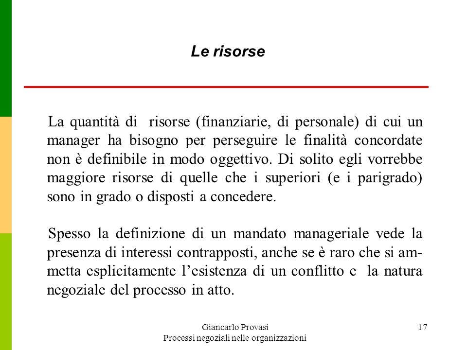 Giancarlo Provasi Processi negoziali nelle organizzazioni 17 La quantità di risorse (finanziarie, di personale) di cui un manager ha bisogno per perse