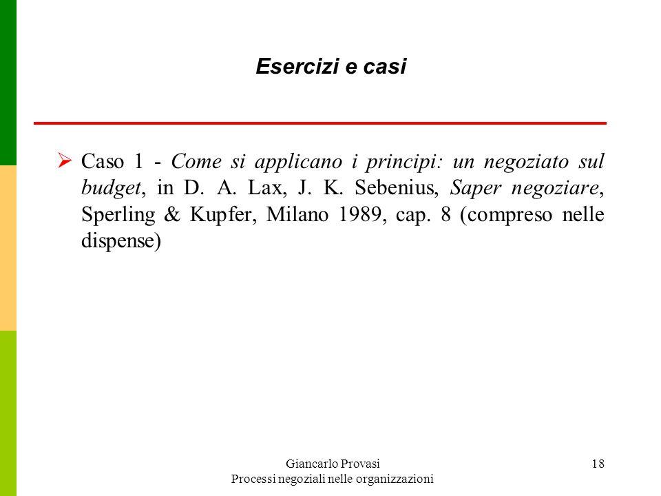 Giancarlo Provasi Processi negoziali nelle organizzazioni 18 Esercizi e casi Caso 1 - Come si applicano i principi: un negoziato sul budget, in D. A.