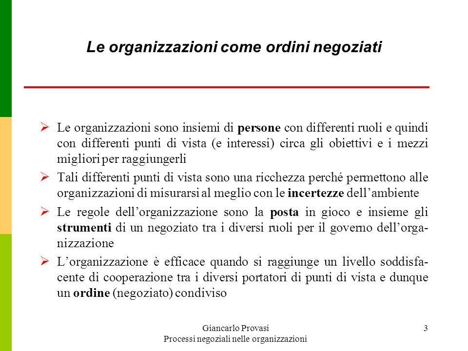 Giancarlo Provasi Processi negoziali nelle organizzazioni 3 Le organizzazioni come ordini negoziati Le organizzazioni sono insiemi di persone con diff