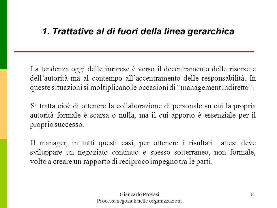 Giancarlo Provasi Processi negoziali nelle organizzazioni 6 1. Trattative al di fuori della linea gerarchica La tendenza oggi delle imprese è verso il