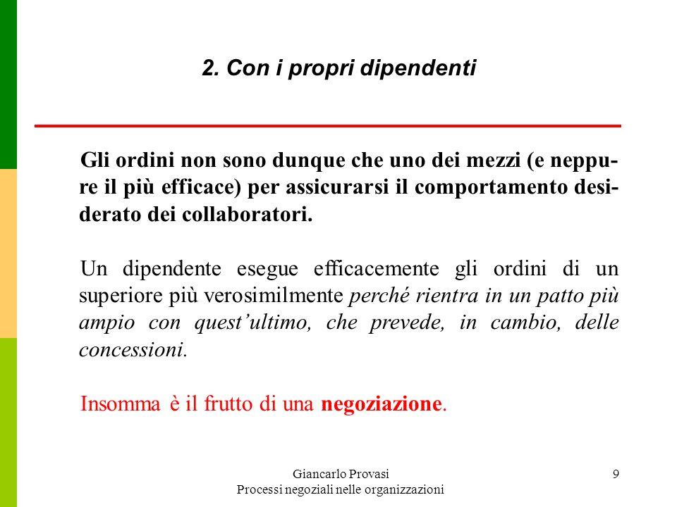 Giancarlo Provasi Processi negoziali nelle organizzazioni 10 dal diritto di licenziare, di incidere sui livelli remunerativi (salario variabile) e sulle progressioni di carriera; dalla discrezionalità nellapplicazione delle regole per i subordinati (rapporto tra autorità e potere negoziale) 2.