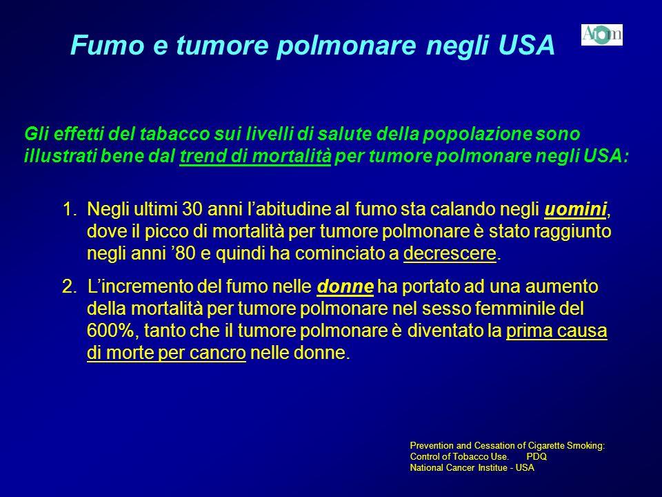 Fumo e tumore polmonare negli USA Gli effetti del tabacco sui livelli di salute della popolazione sono illustrati bene dal trend di mortalità per tumo