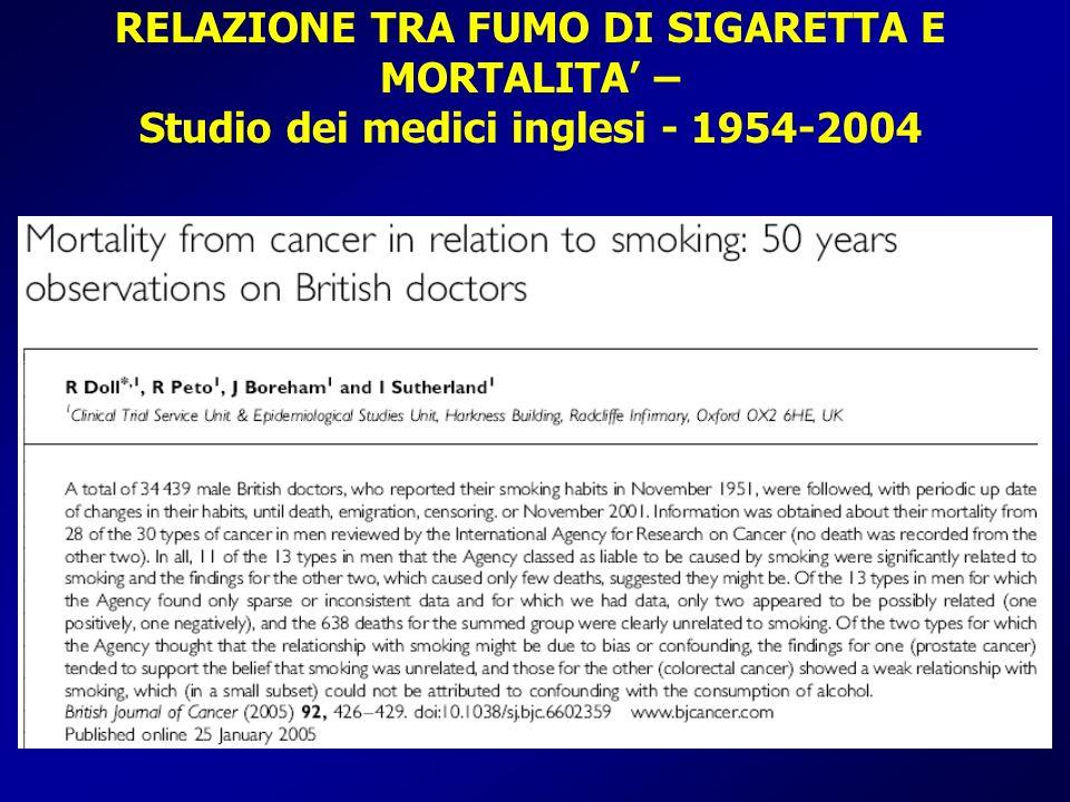 RELAZIONE TRA FUMO DI SIGARETTA E MORTALITA – Studio dei medici inglesi - 1954-2004 M