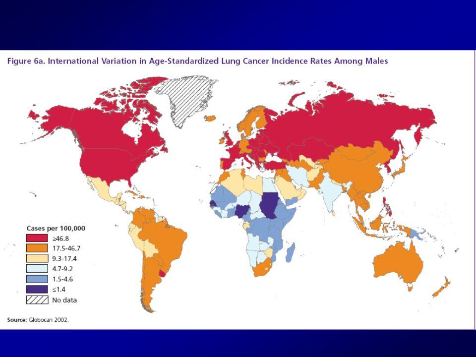 Rischio di cancro del polmone per elevati livelli di radon nelle case A livelli di 100 e più Bq/m 3 il rischio di cancro del polmone aumenta del 10% Leffetto è potenziato dal fumo di tabacco: del rischio di 20 volte nei fumatori Si ritiene che in Italia il 10% dei tumori polmonari sia dovuto al radon