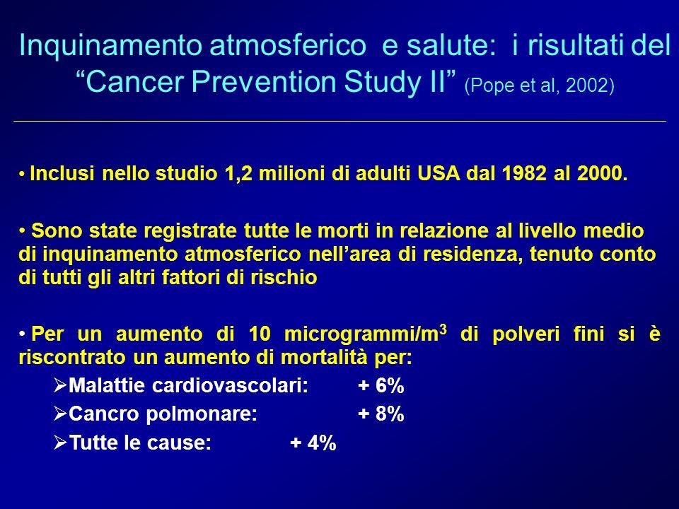 Inquinamento atmosferico e salute: i risultati del Cancer Prevention Study II (Pope et al, 2002) Inclusi nello studio 1,2 milioni di adulti USA dal 19