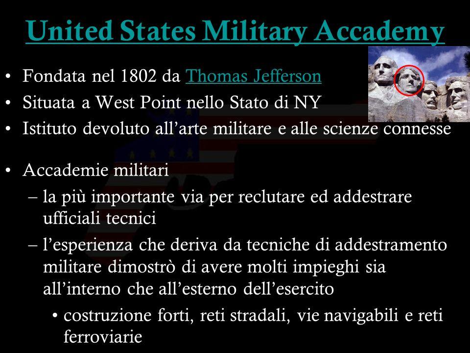16 Fondata nel 1802 da Thomas JeffersonThomas Jefferson Situata a West Point nello Stato di NY Istituto devoluto allarte militare e alle scienze conne