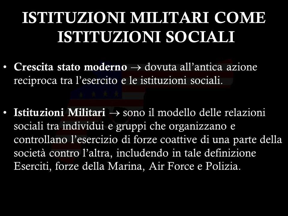 23 ISTITUZIONI MILITARI COME ISTITUZIONI SOCIALI Crescita stato moderno dovuta allantica azione reciproca tra lesercito e le istituzioni sociali.