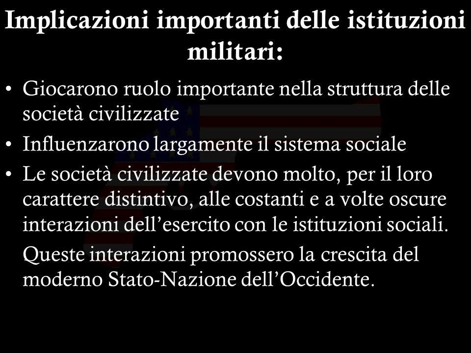 25 Implicazioni importanti delle istituzioni militari: Giocarono ruolo importante nella struttura delle società civilizzate Influenzarono largamente i