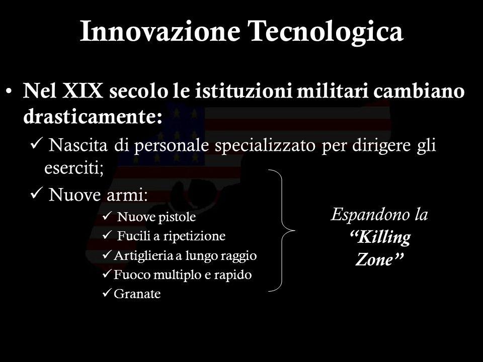 5 Nel XIX secolo le istituzioni militari cambiano drasticamente: Nascita di personale specializzato per dirigere gli eserciti; Nuove armi: Nuove pistole Fucili a ripetizione Artiglieria a lungo raggio Fuoco multiplo e rapido Granate Innovazione Tecnologica Espandono la Killing Zone