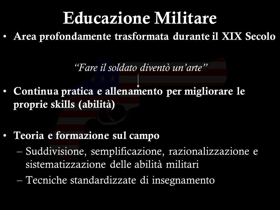 8 Educazione Militare Area profondamente trasformata durante il XIX Secolo Fare il soldato diventò unarte Continua pratica e allenamento per migliorar
