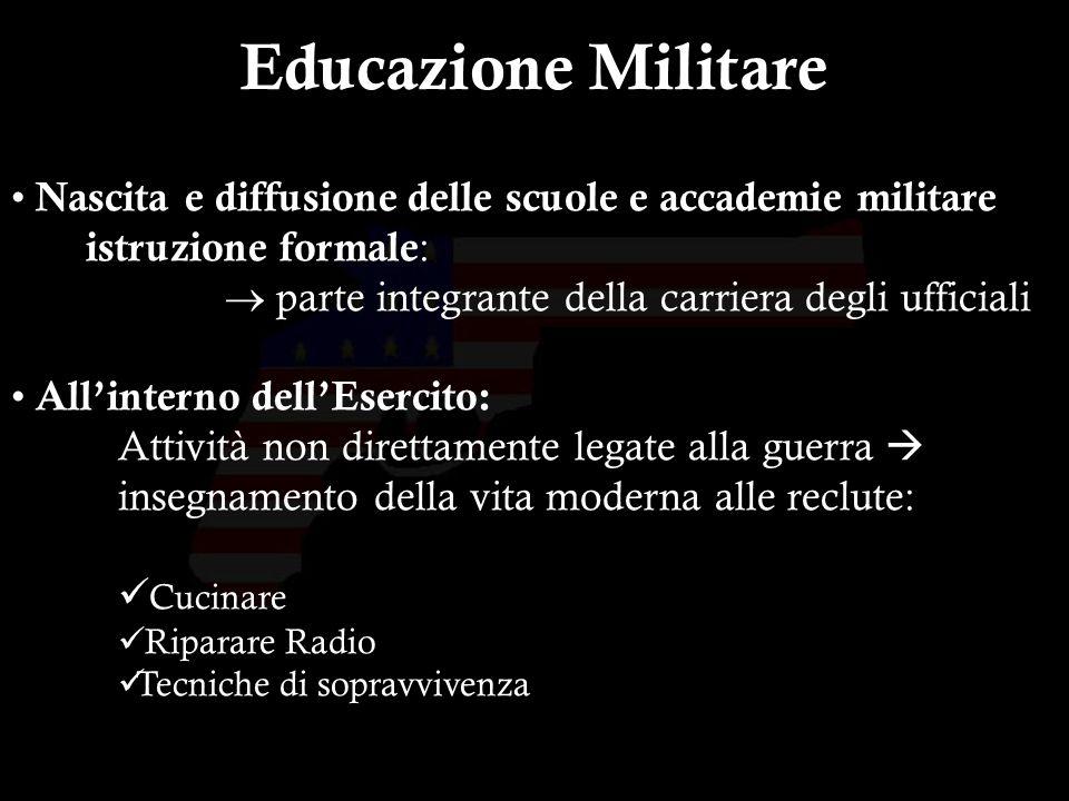 9 Nascita e diffusione delle scuole e accademie militare istruzione formale : parte integrante della carriera degli ufficiali Allinterno dellEsercito: