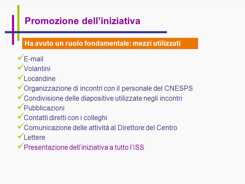 E-mail Volantini Locandine Organizzazione di incontri con il personale del CNESPS Condivisione delle diapositive utilizzate negli incontri Pubblicazio