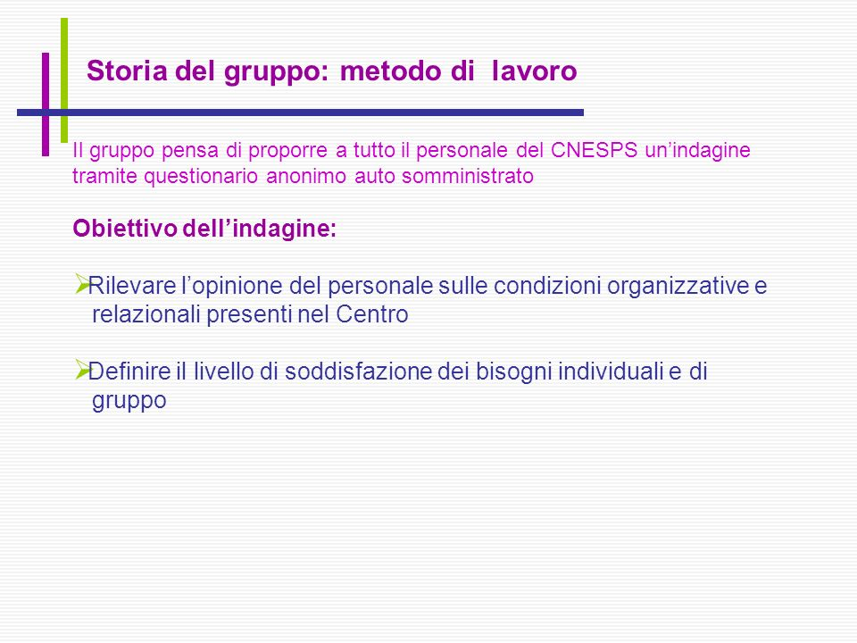 Storia del gruppo: metodo di lavoro Il gruppo pensa di proporre a tutto il personale del CNESPS unindagine tramite questionario anonimo auto somminist