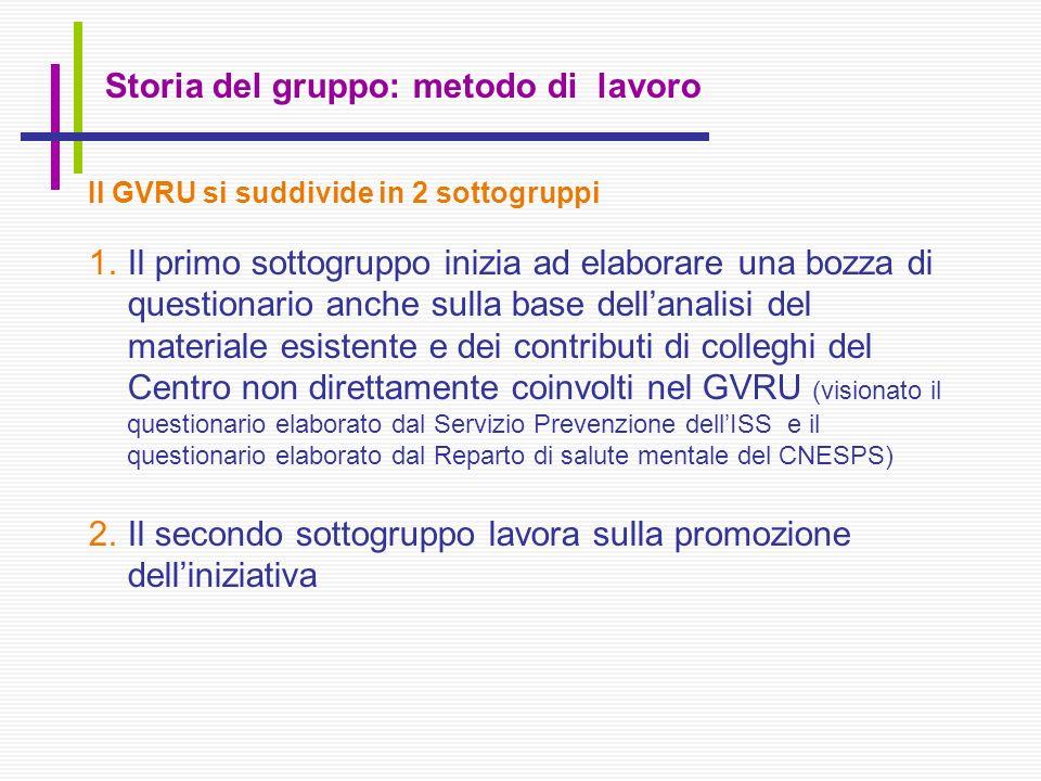 Storia del gruppo: metodo di lavoro Il GVRU si suddivide in 2 sottogruppi 1.Il primo sottogruppo inizia ad elaborare una bozza di questionario anche s