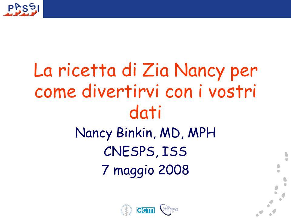 La ricetta di Zia Nancy per come divertirvi con i vostri dati Nancy Binkin, MD, MPH CNESPS, ISS 7 maggio 2008