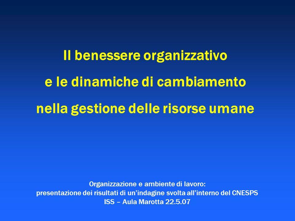 Il benessere organizzativo e le dinamiche di cambiamento nella gestione delle risorse umane Organizzazione e ambiente di lavoro: presentazione dei ris