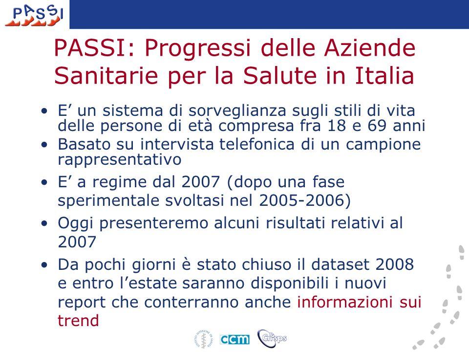 Attività fisica Valutazioni di bisogni, outcome, output Promozione dellattività fisica in LIGURIA Fonte: Passi 2007 Sedentari Liguria: 19.3 (16.4-22.3) Pool Passi: 28.0 (27.2.28.8 )