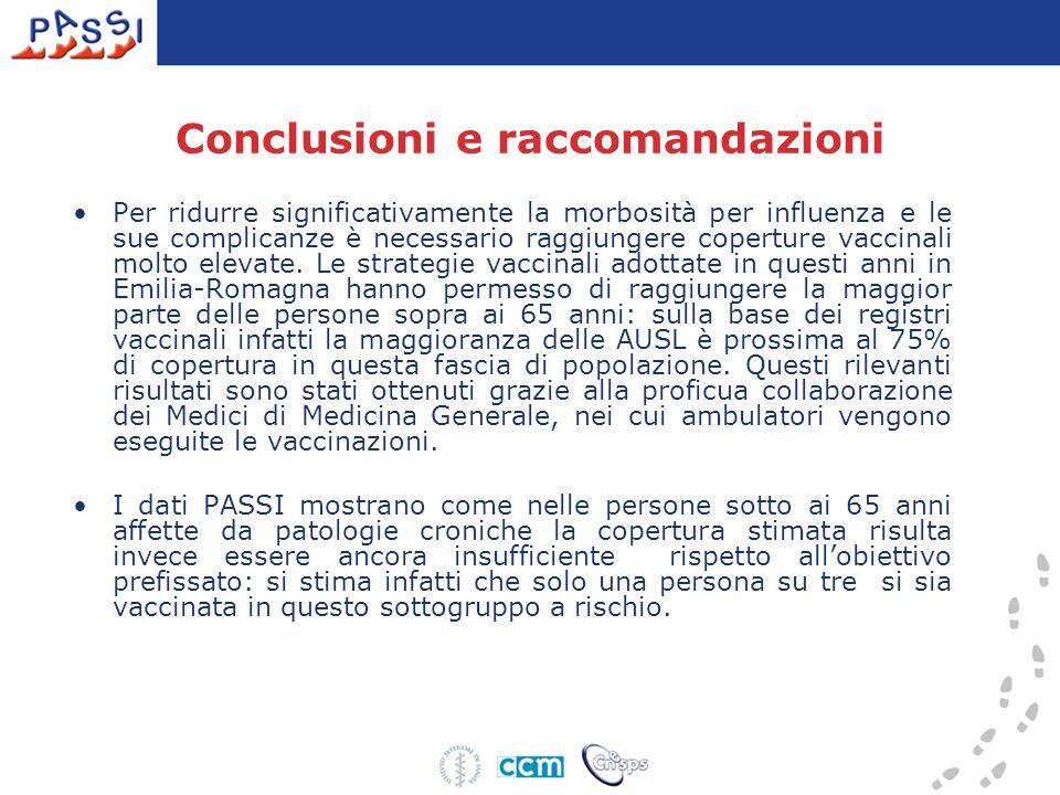 Conclusioni e raccomandazioni Per ridurre significativamente la morbosità per influenza e le sue complicanze è necessario raggiungere coperture vaccin