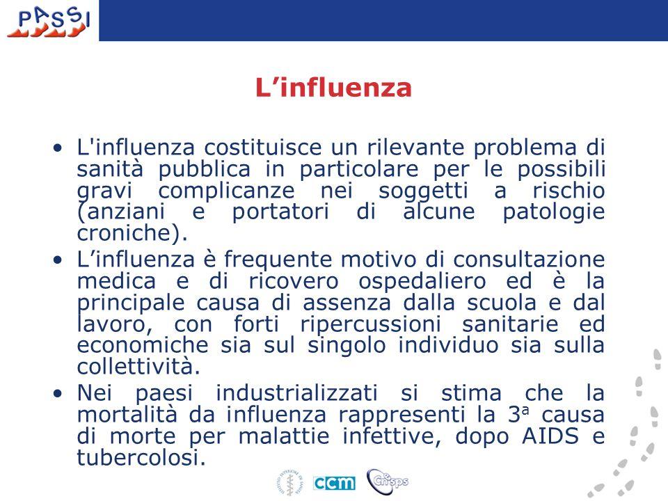 Linfluenza L'influenza costituisce un rilevante problema di sanità pubblica in particolare per le possibili gravi complicanze nei soggetti a rischio (