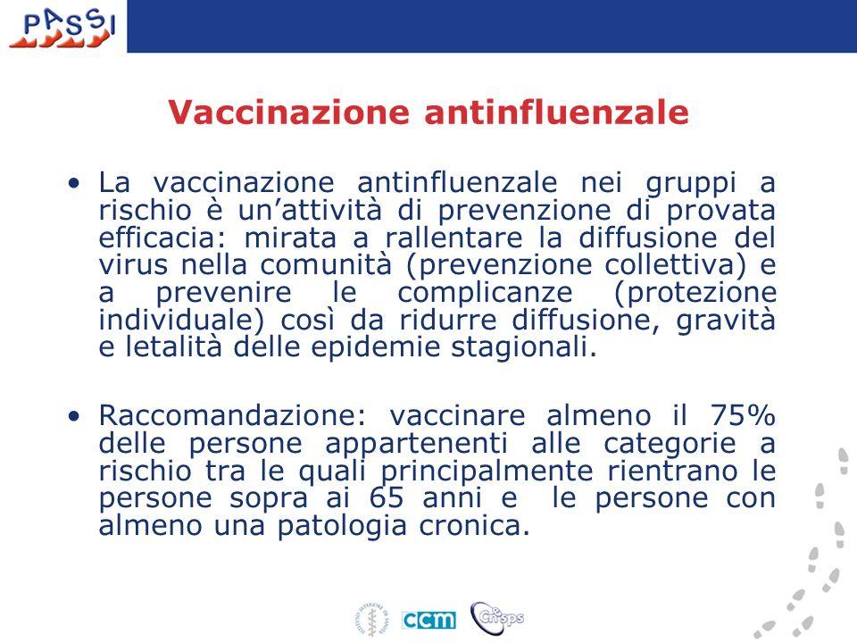 Vaccinazione antinfluenzale La vaccinazione antinfluenzale nei gruppi a rischio è unattività di prevenzione di provata efficacia: mirata a rallentare