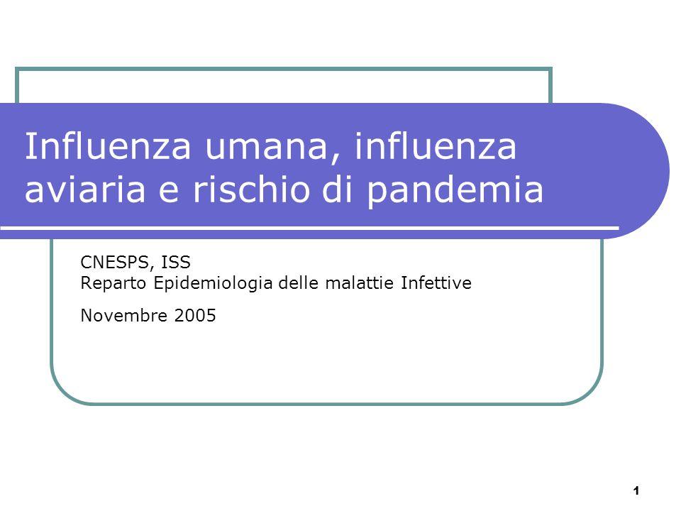 1 Influenza umana, influenza aviaria e rischio di pandemia CNESPS, ISS Reparto Epidemiologia delle malattie Infettive Novembre 2005
