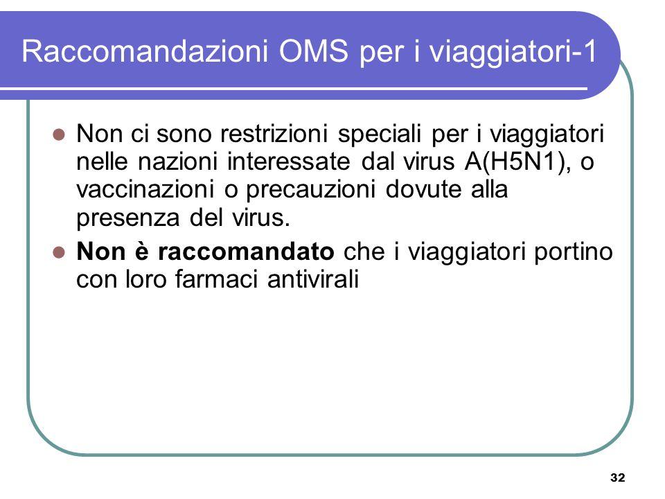 32 Raccomandazioni OMS per i viaggiatori-1 Non ci sono restrizioni speciali per i viaggiatori nelle nazioni interessate dal virus A(H5N1), o vaccinazi