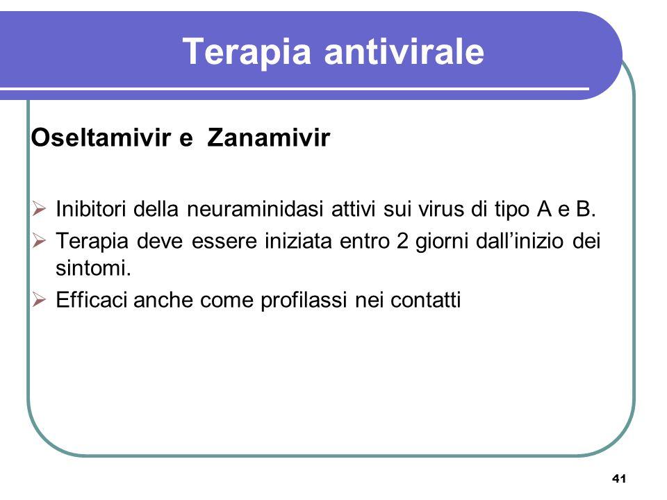 41 Terapia antivirale Oseltamivir e Zanamivir Inibitori della neuraminidasi attivi sui virus di tipo A e B. Terapia deve essere iniziata entro 2 giorn