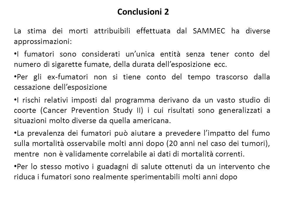 La stima dei morti attribuibili effettuata dal SAMMEC ha diverse approssimazioni: I fumatori sono considerati ununica entità senza tener conto del numero di sigarette fumate, della durata dellesposizione ecc.