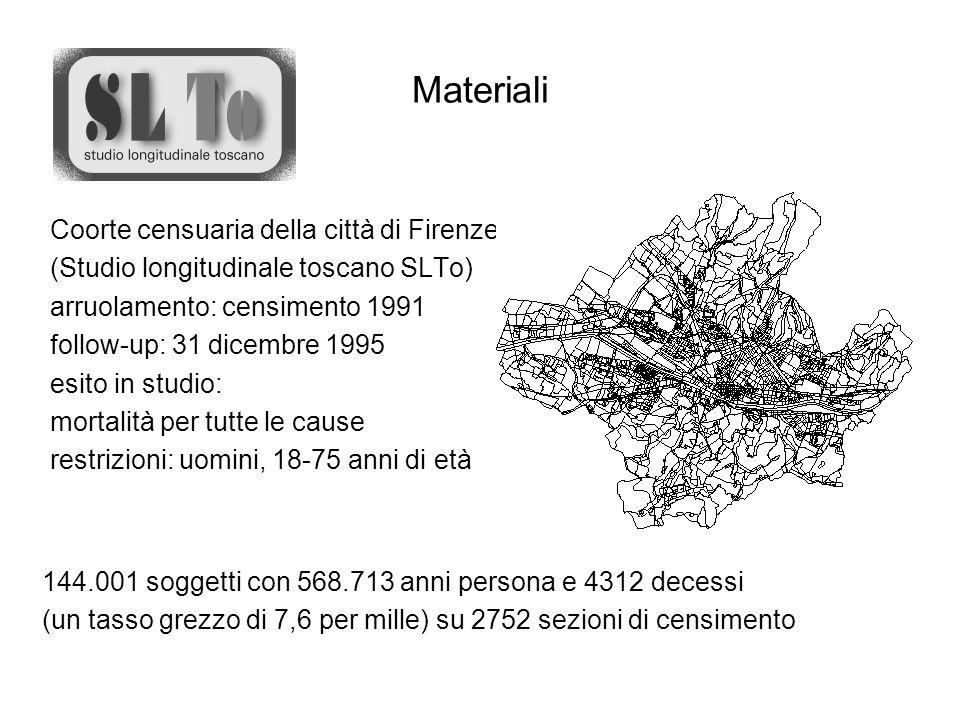 Materiali Coorte censuaria della città di Firenze (Studio longitudinale toscano SLTo) arruolamento: censimento 1991 follow-up: 31 dicembre 1995 esito