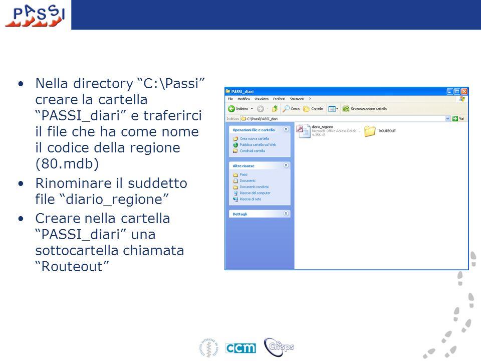 Nella directory C:\Passi creare la cartella PASSI_diari e traferirci il file che ha come nome il codice della regione (80.mdb) Rinominare il suddetto file diario_regione Creare nella cartella PASSI_diari una sottocartella chiamata Routeout
