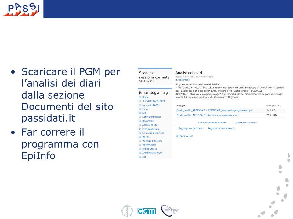 Scaricare il PGM per lanalisi dei diari dalla sezione Documenti del sito passidati.it Far correre il programma con EpiInfo