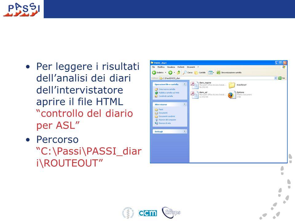 Per leggere i risultati dellanalisi dei diari dellintervistatore aprire il file HTML controllo del diario per ASL Percorso C:\Passi\PASSI_diar i\ROUTEOUT