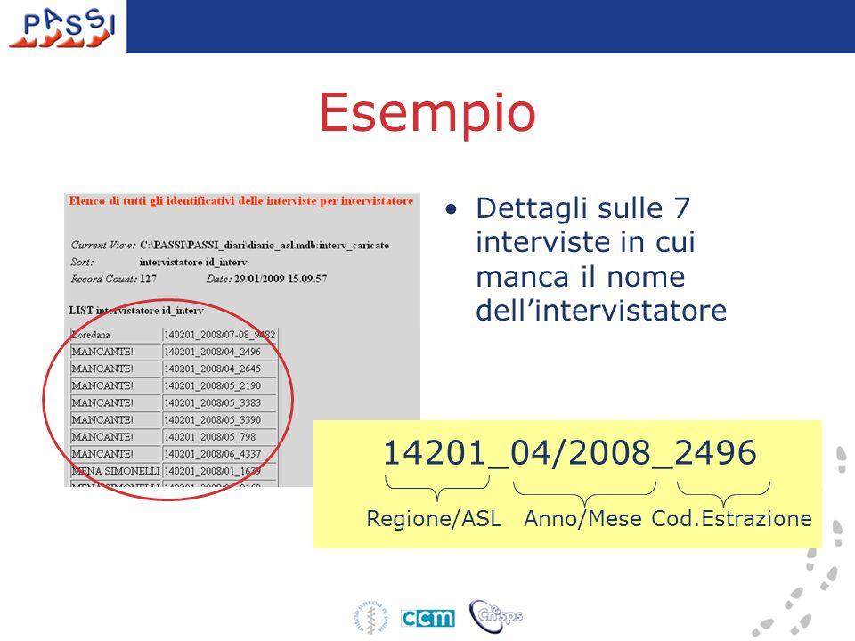 Esempio Dettagli sulle 7 interviste in cui manca il nome dellintervistatore 14201_04/2008_2496 Regione/ASLAnno/MeseCod.Estrazione