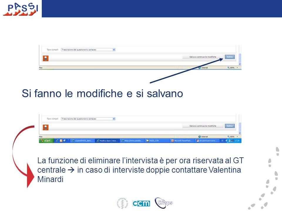 Si fanno le modifiche e si salvano La funzione di eliminare lintervista è per ora riservata al GT centrale in caso di interviste doppie contattare Valentina Minardi