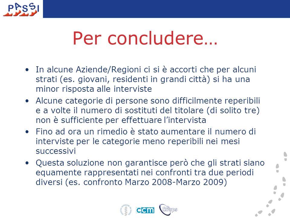 Per concludere… In alcune Aziende/Regioni ci si è accorti che per alcuni strati (es.