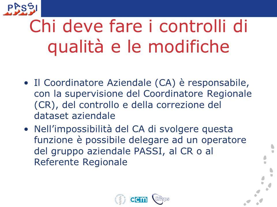 Chi deve fare i controlli di qualità e le modifiche Il Coordinatore Aziendale (CA) è responsabile, con la supervisione del Coordinatore Regionale (CR)