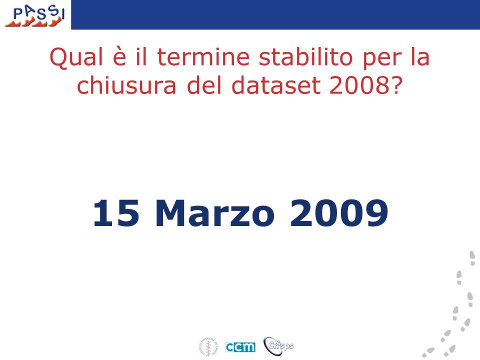 Qual è il termine stabilito per la chiusura del dataset 2008? 15 Marzo 2009