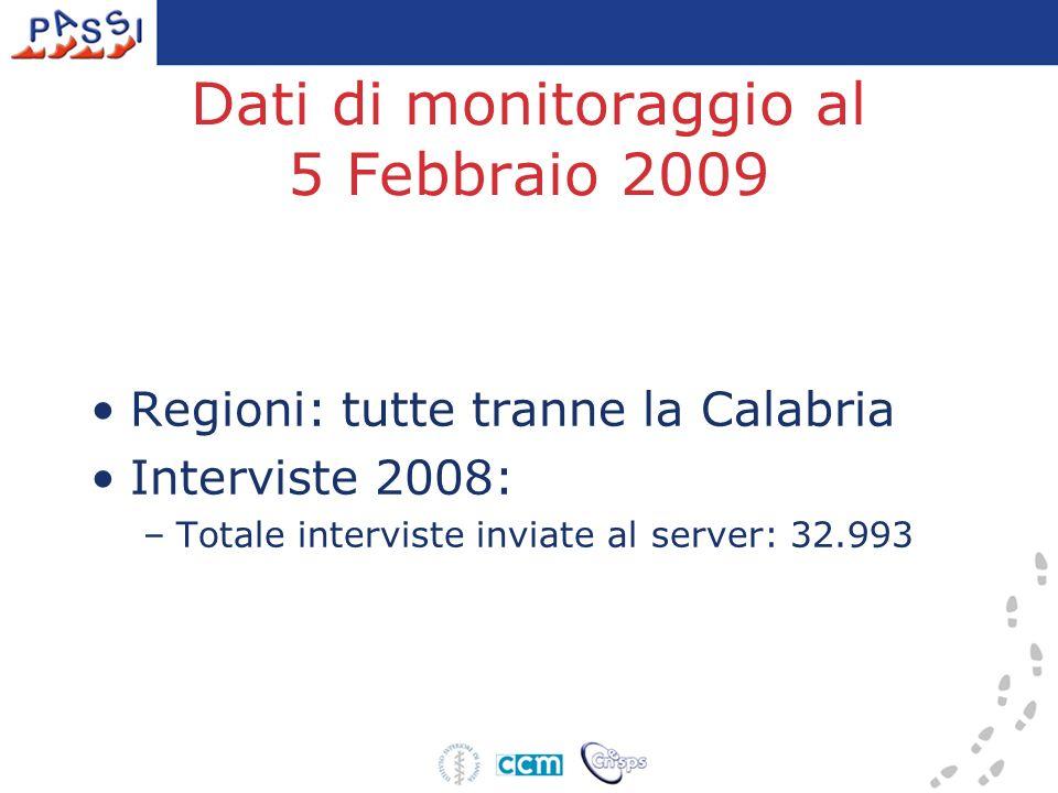 Dati di monitoraggio al 5 Febbraio 2009 Regioni: tutte tranne la Calabria Interviste 2008: –Totale interviste inviate al server: 32.993
