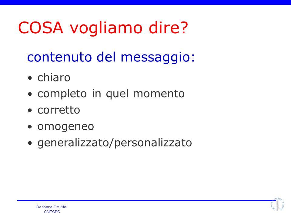 Barbara De Mei CNESPS contenuto del messaggio: chiaro completo in quel momento corretto omogeneo generalizzato/personalizzato COSA vogliamo dire?