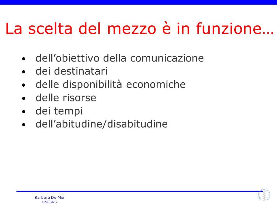 Barbara De Mei CNESPS dellobiettivo della comunicazione dei destinatari delle disponibilità economiche delle risorse dei tempi dellabitudine/disabitud