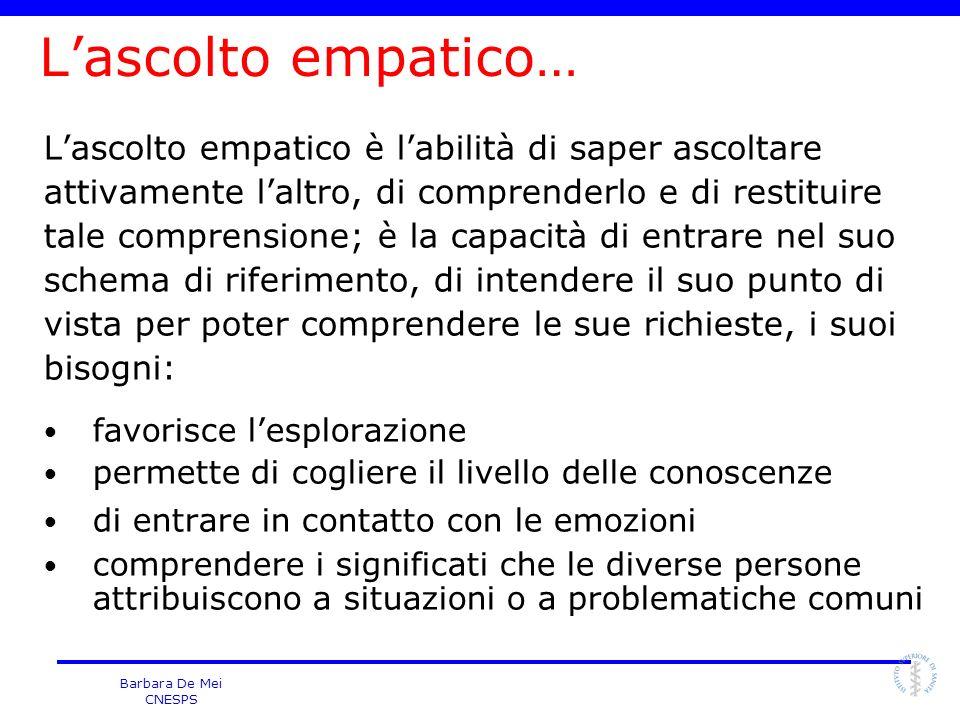 Barbara De Mei CNESPS Lascolto empatico… Lascolto empatico è labilità di saper ascoltare attivamente laltro, di comprenderlo e di restituire tale comp