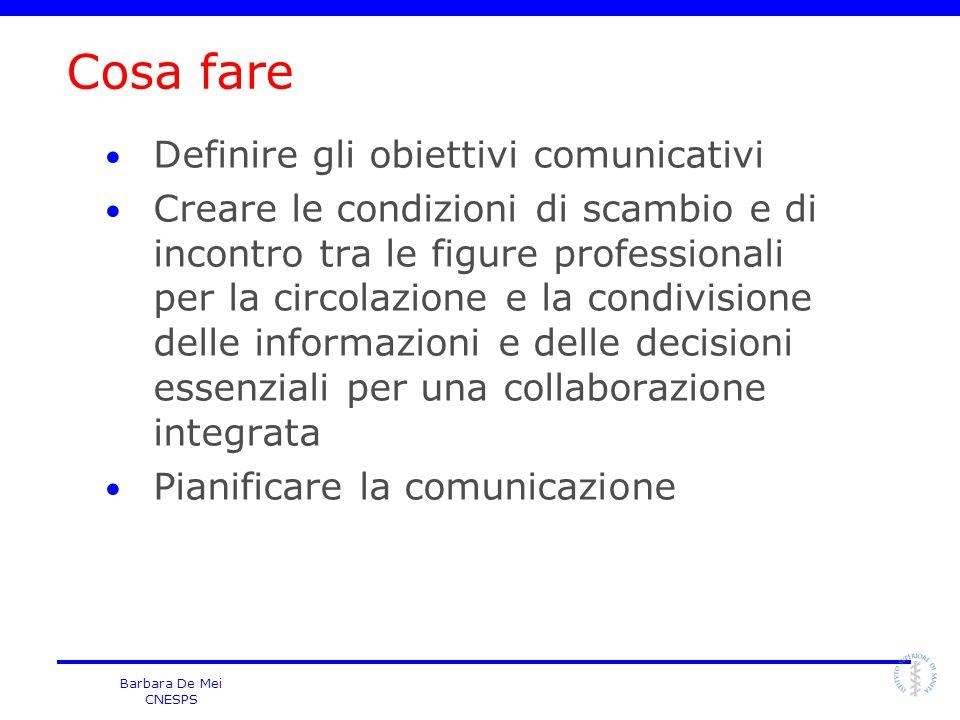 Barbara De Mei CNESPS Obiettivo conoscitivo Atteggiamenti Comportamenti la strategia di comunicazione cambia in relazione ai nostri obiettivi Obiettivi comunicativi migliorare le conoscenze favorire ladesione consapevole