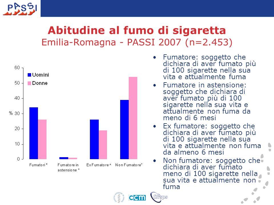 Abitudine al fumo di sigaretta Emilia-Romagna - PASSI 2007 (n=2.453) Fumatore: soggetto che dichiara di aver fumato più di 100 sigarette nella sua vit