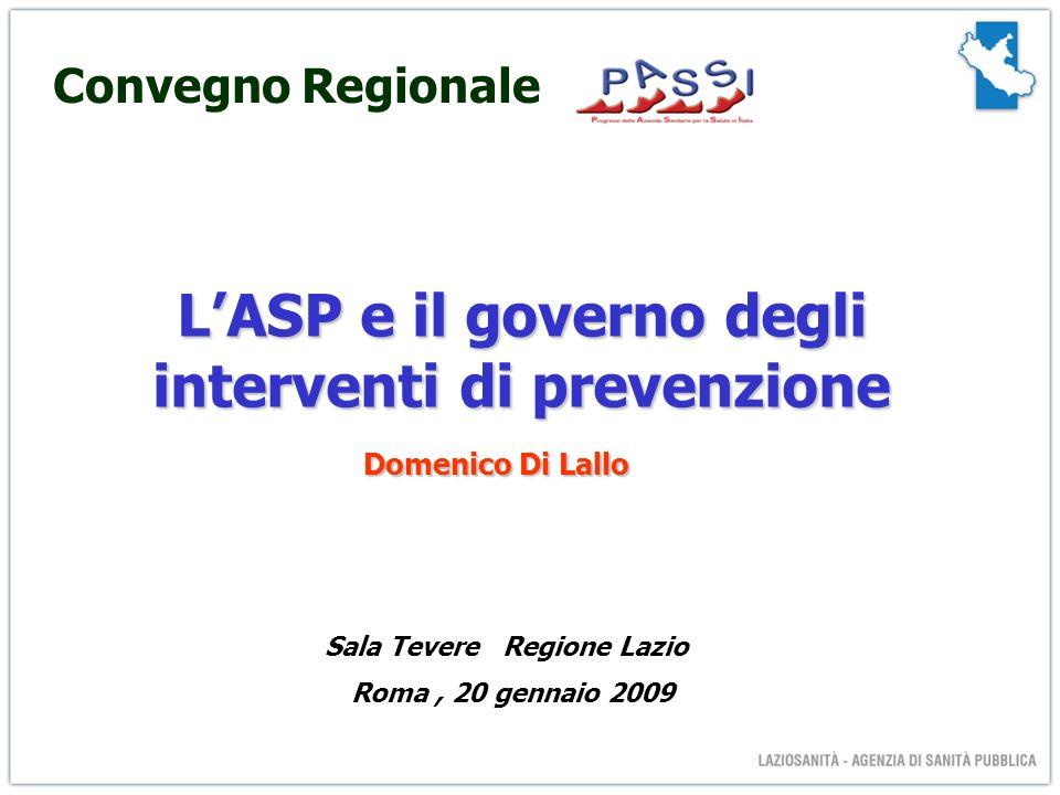LASP e il governo degli interventi di prevenzione Sala Tevere Regione Lazio Roma, 20 gennaio 2009 Domenico Di Lallo Convegno Regionale