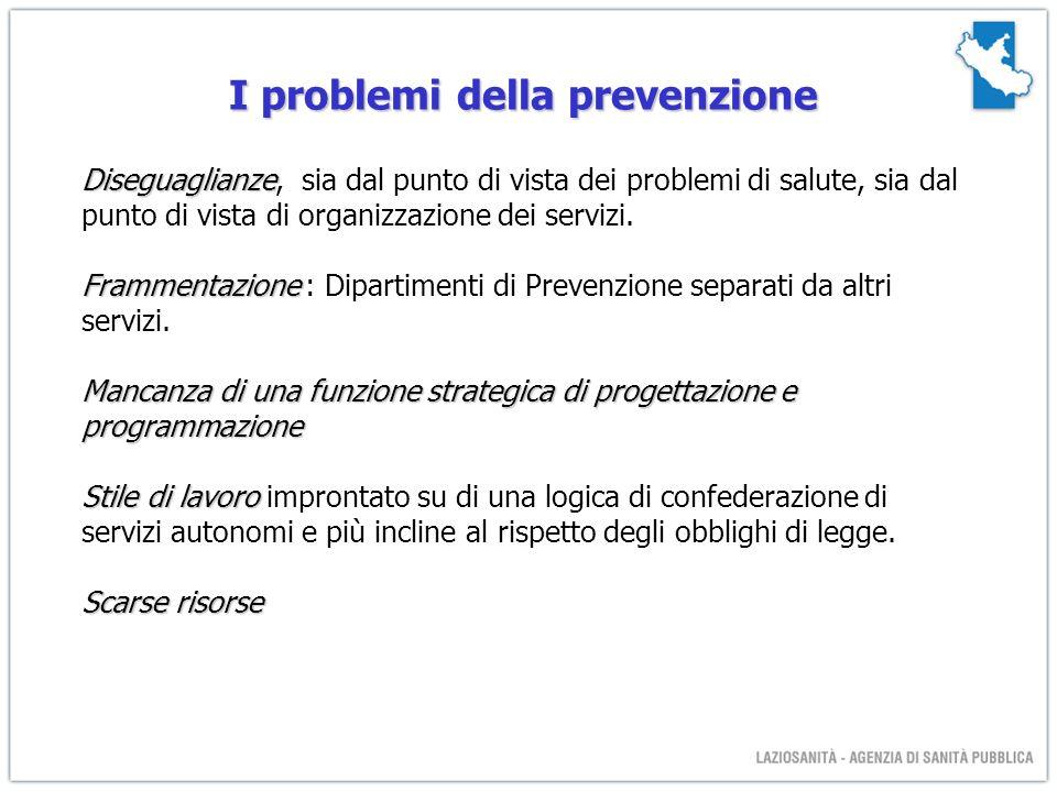 I problemi della prevenzione Diseguaglianze Diseguaglianze, sia dal punto di vista dei problemi di salute, sia dal punto di vista di organizzazione dei servizi.