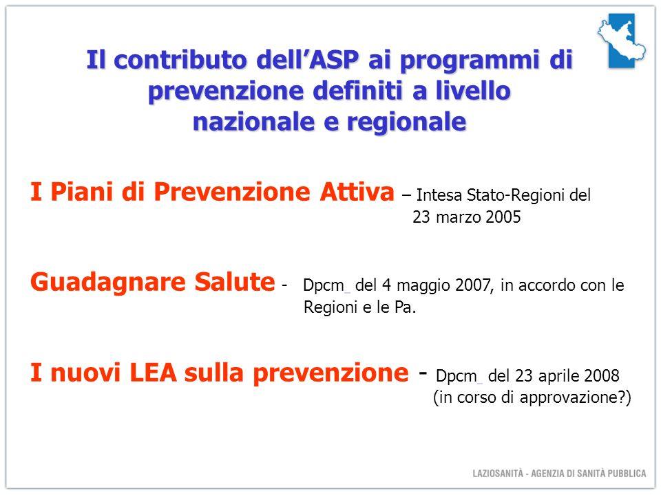 Il contributo dellASP ai programmi di prevenzione definiti a livello nazionale e regionale I Piani di Prevenzione Attiva – Intesa Stato-Regioni del 23