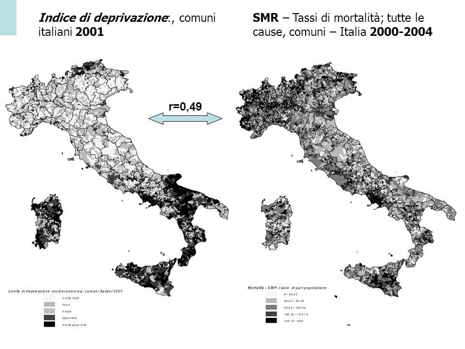 Agenzia Sociale e Sanitaria _ Regione Emilia-Romagna r= 0.49 Indice di deprivazione:, comuni italiani 2001 SMR – Tassi di mortalità; tutte le cause, c